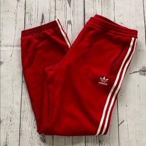 Men's adidas red white striped jogger sweat pants